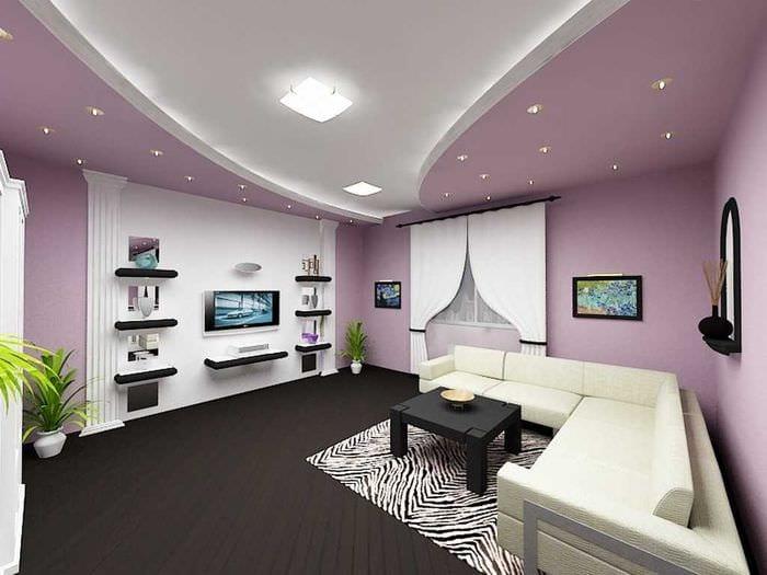 идея необычного интерьера гостиной в частном доме