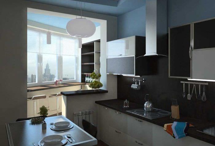 пример светлого дизайна кухни 9 кв.м