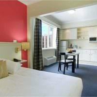 вариант яркого интерьера небольшой комнаты в общежитии картинка