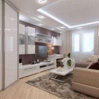 вариант яркого интерьера гостиной спальни 20 кв.м. фото