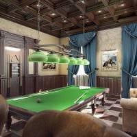 идея необычного дизайна бильярдной комнаты фото
