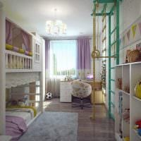 идея необычного декора детской комнаты для двоих девочек картинка