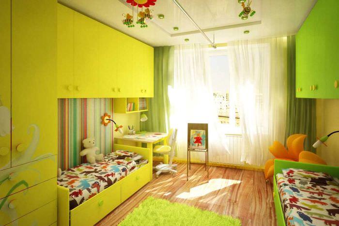 идея светлого стиля детской комнаты для двоих девочек