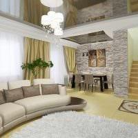 идея светлого дизайна зала в частном доме картинка