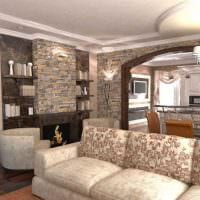 идея красивого дизайна гостиной в частном доме картинка