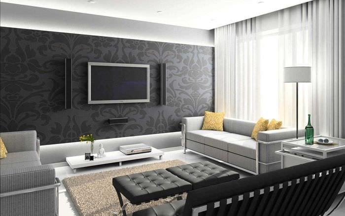 вариант яркого стиля зала в частном доме