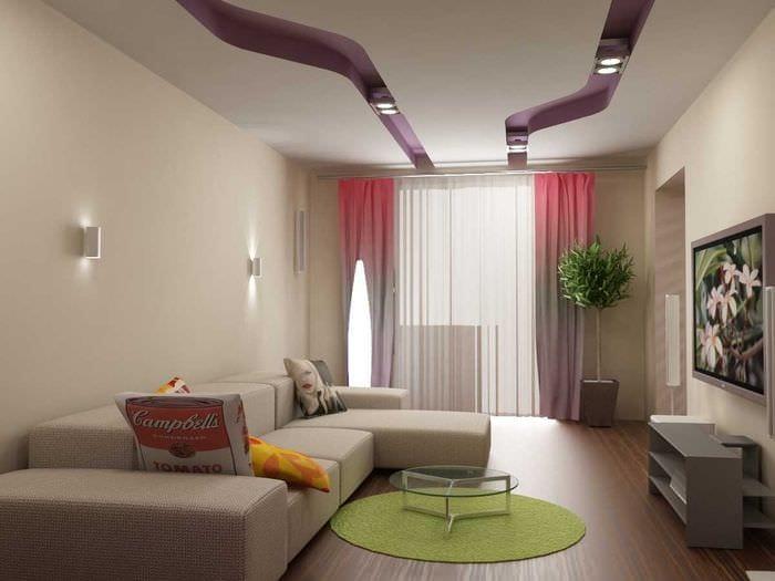 идея красивого интерьера спальни гостиной