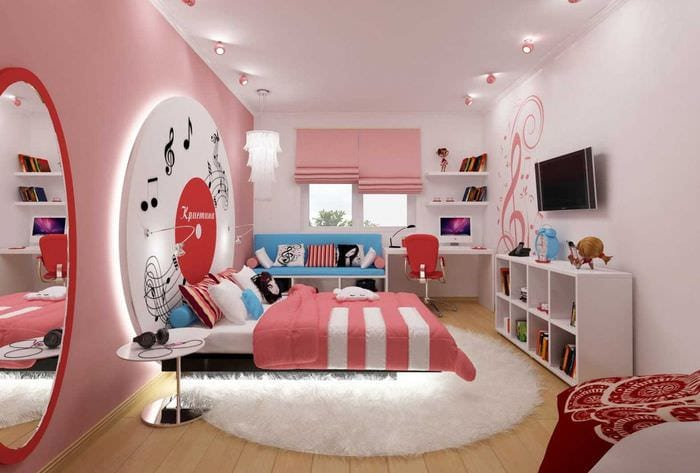 вариант красивого стиля спальни для девочки в современном стиле