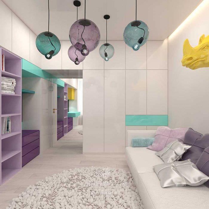 вариант красивого современного дизайна детской комнаты