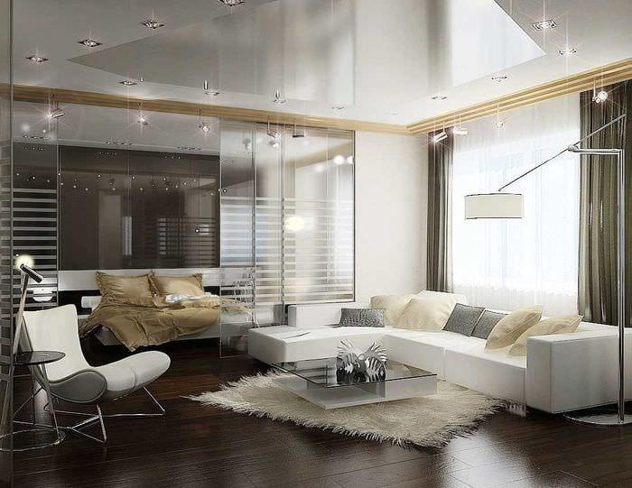 идея светлого декора спальни гостиной