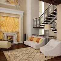 вариант яркого стиля зала в частном доме фото