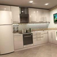 пример светлого интерьера кухни 9 кв.м фото