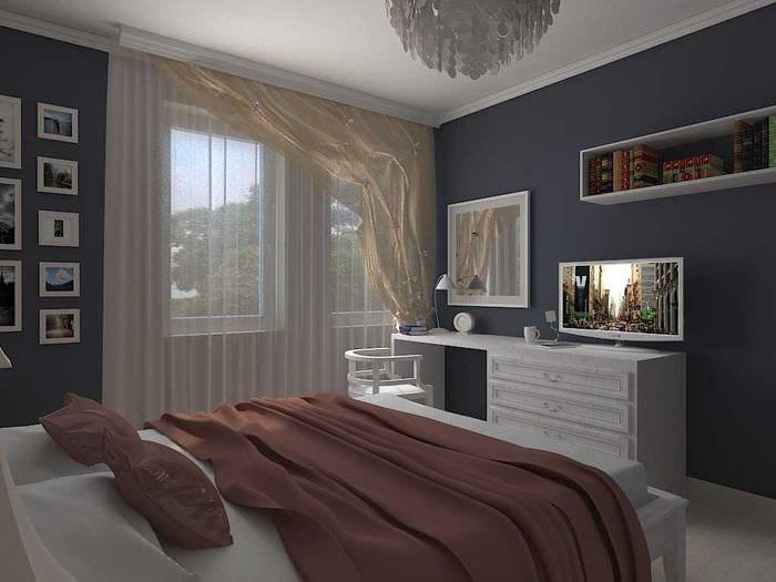идея светлого декора спальной комнаты для молодого человека