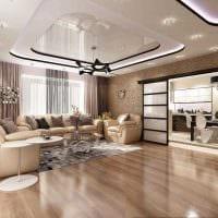 идея красивого дизайна зала в частном доме фото