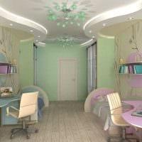 идея красивого дизайна детской комнаты для двоих детей фото
