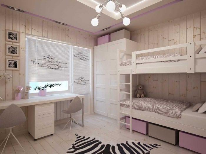 вариант яркого интерьера детской комнаты для двоих девочек