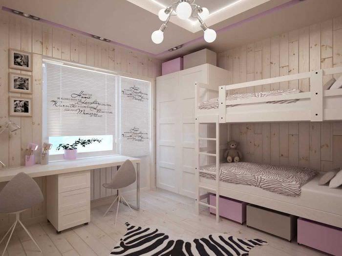 вариант яркого декора детской комнаты для двоих девочек