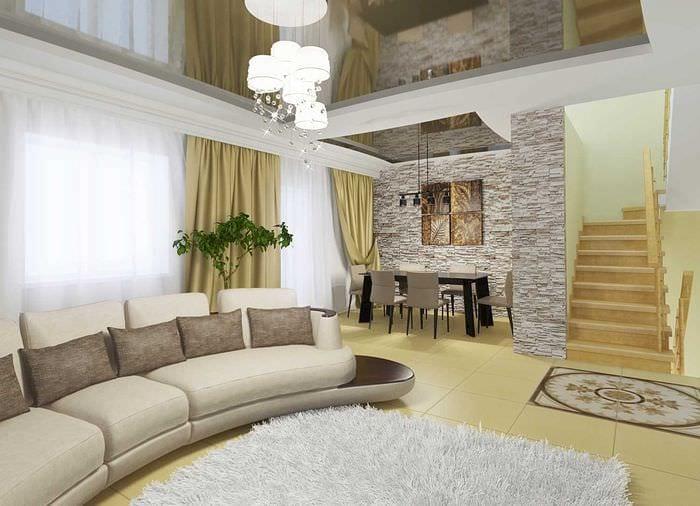вариант необычного стиля зала в частном доме