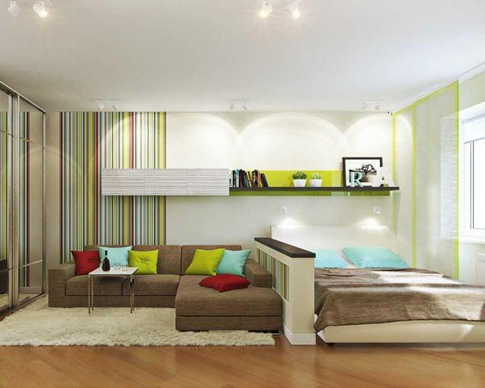 вариант светлого интерьера спальни гостиной
