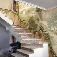 идея необычного стиля квартиры с росписью стен картинка