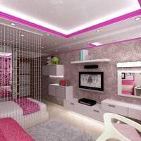 вариант красивого дизайна спальни для девочки в современном стиле фото