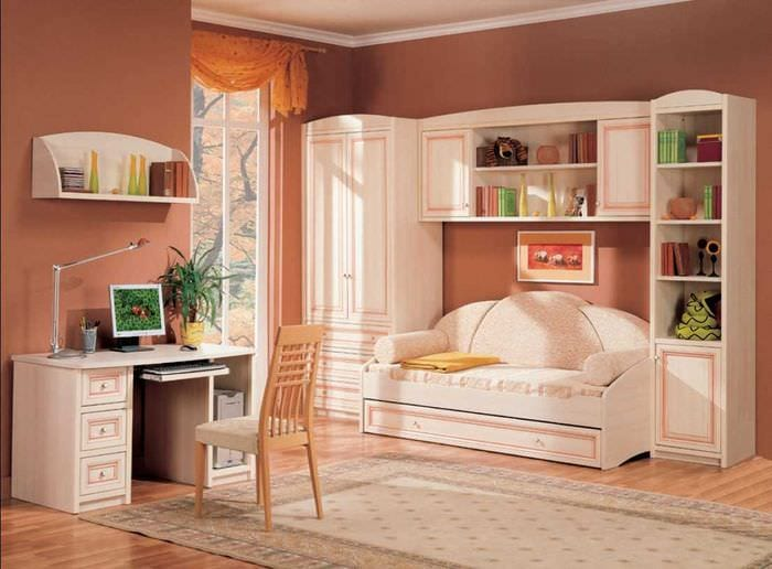 вариант красивого интерьера спальни для девочки в современном стиле