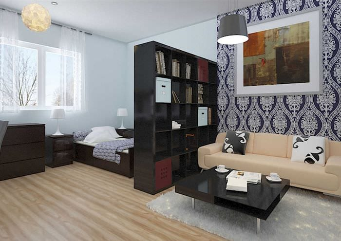 идея яркого стиля спальни гостиной 20 кв.м.
