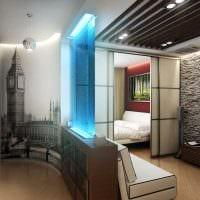 вариант яркого дизайна спальной комнаты 18 кв.м. фото