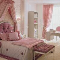 вариант необычного интерьера спальной комнаты для девочки в современном стиле картинка