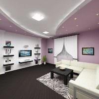 вариант яркого дизайна зала в частном доме картинка