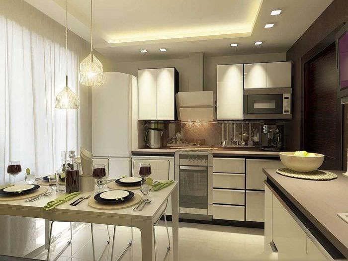 пример яркого стиля кухни 9 кв.м