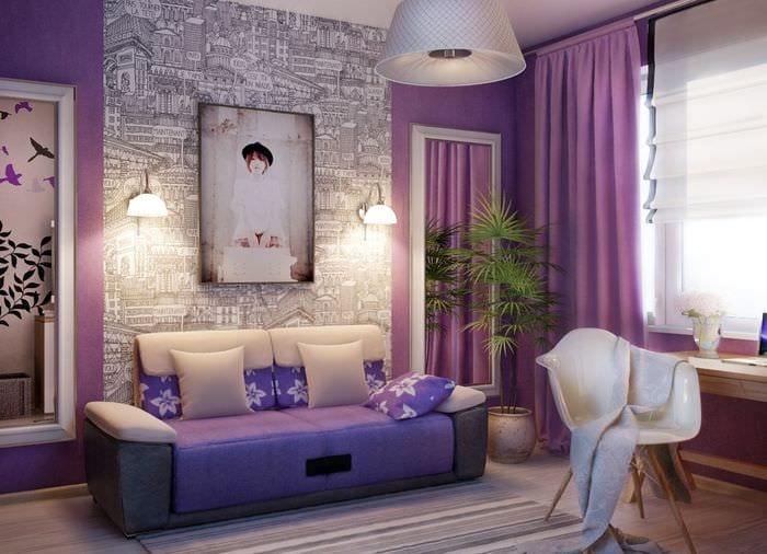 вариант яркого интерьера спальни для девочки в современном стиле