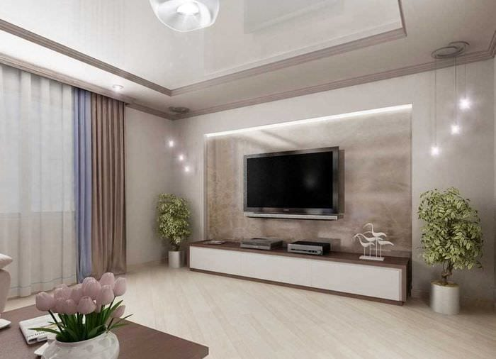 идея яркого декора гостиной в частном доме