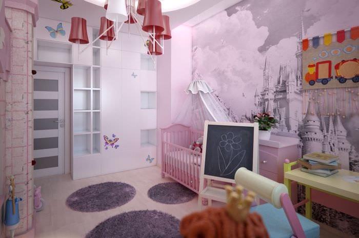 вариант яркого современного интерьера детской комнаты