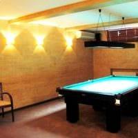 идея светлого декора бильярдной комнаты фото