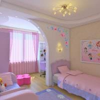 пример необычного декора детской комнаты для двоих девочек фото