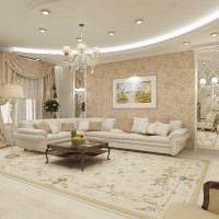 вариант светлого стиля гостиной в частном доме фото