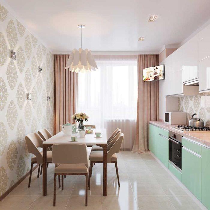 идея светлого интерьера кухни 8 кв.м