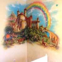 вариант красивого интерьера дома с росписью стен фото