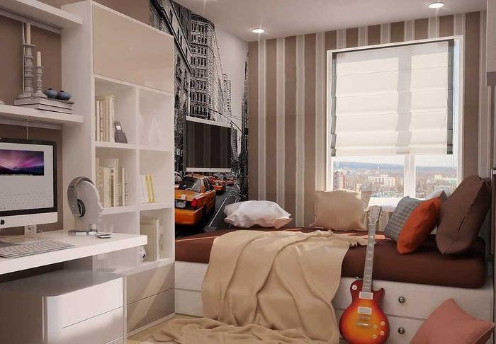 вариант необычного стиля спальной комнаты для молодого человека