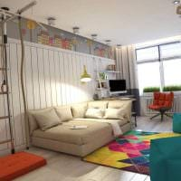 вариант яркого стиля спальной комнаты для девочки в современном стиле фото