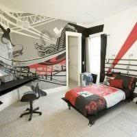 вариант светлого стиля спальни для молодого человека фото