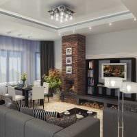 идея красивого стиля зала в частном доме фото
