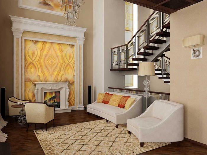 идея светлого интерьера зала в частном доме