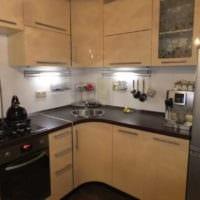 бежевый гарнитур кухня 6 кв