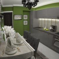серо зеленая кухня 5 квадратных метров