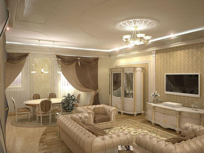 французский интерьер столовой гостиной