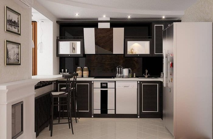 компактная кухня в однокомнатной квартире