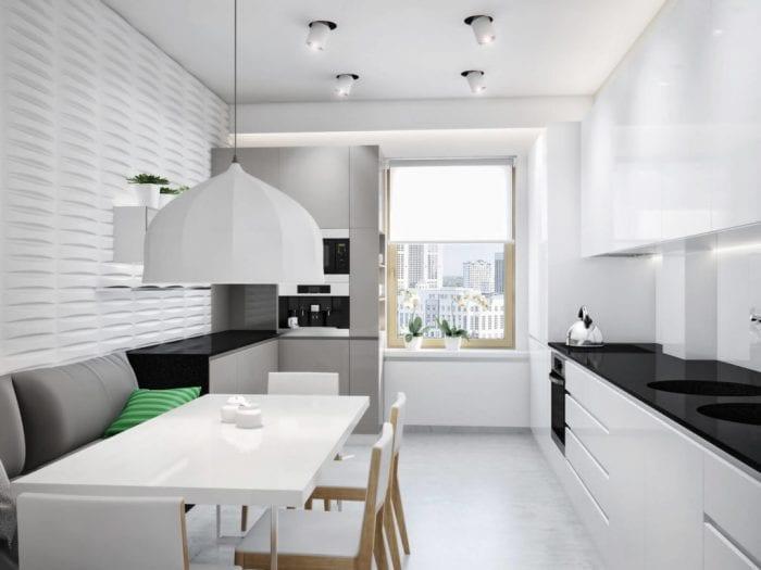 кухня с диваном минимализм