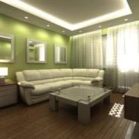 зеленый цвет в маленькой гостиной